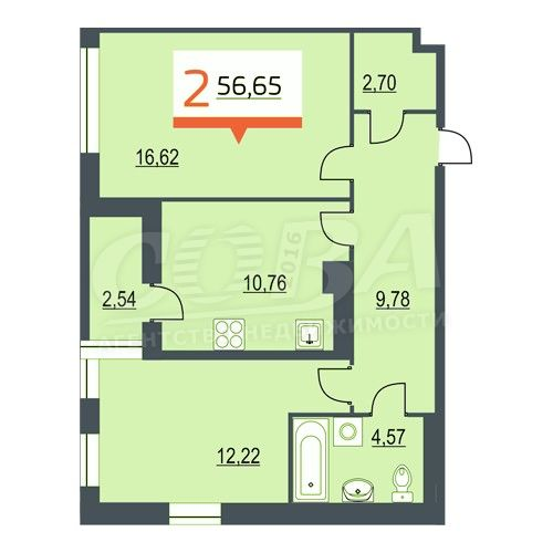 2 комнатная квартира  на КПД в районе 50 лет Октября, ул. 50 лет Октября, 57А, Жилой квартал «Новин», г. Тюмень
