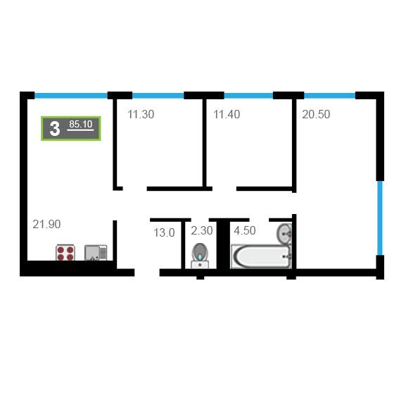 3 комнатная квартира  на КПД в районе 50 лет Октября, ул. 50 лет Октября, 57А/1, Квартал «Новин», г. Тюмень