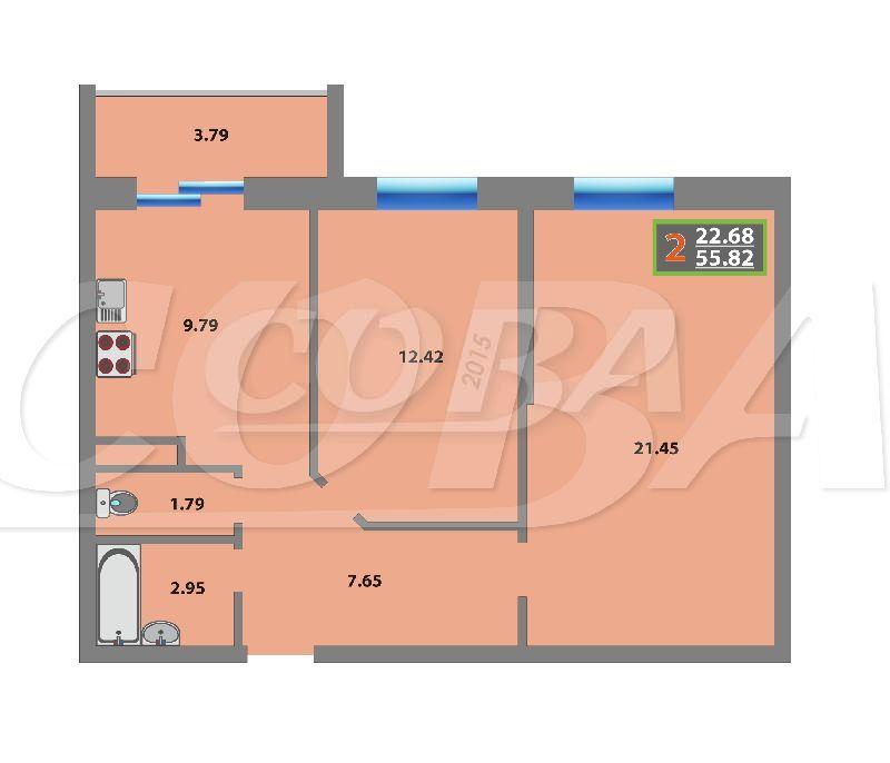 2 комнатная квартира  в районе Мыс, ул. Беляева, 35/2, Жилой комплекс «Звездный городок», г. Тюмень