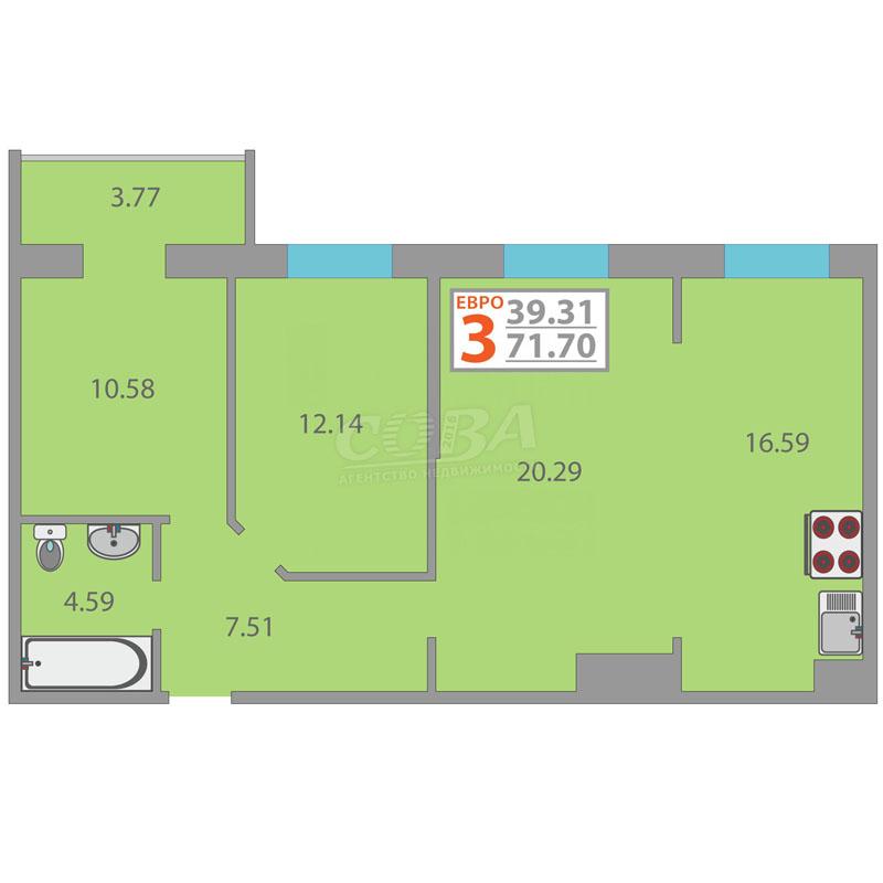2 комнатная квартира  в районе Мыс, ул. Тимофея Чаркова, 79/3, ЖК «Звездный», г. Тюмень