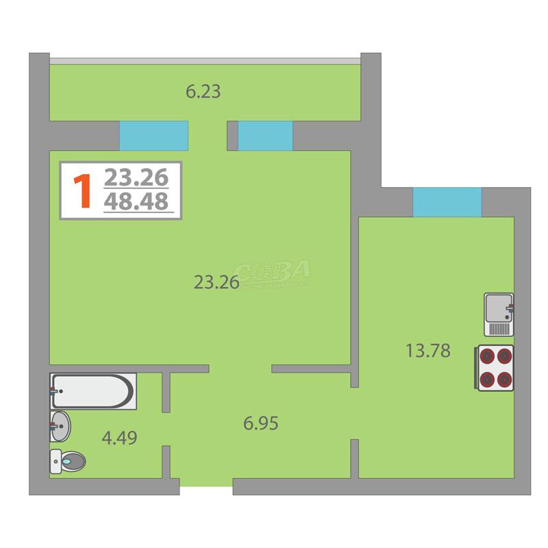 1 комнатная квартира  в районе Плеханово, ул. Кремлевская, 102А, ЖК «Первый Плехановский», г. Тюмень