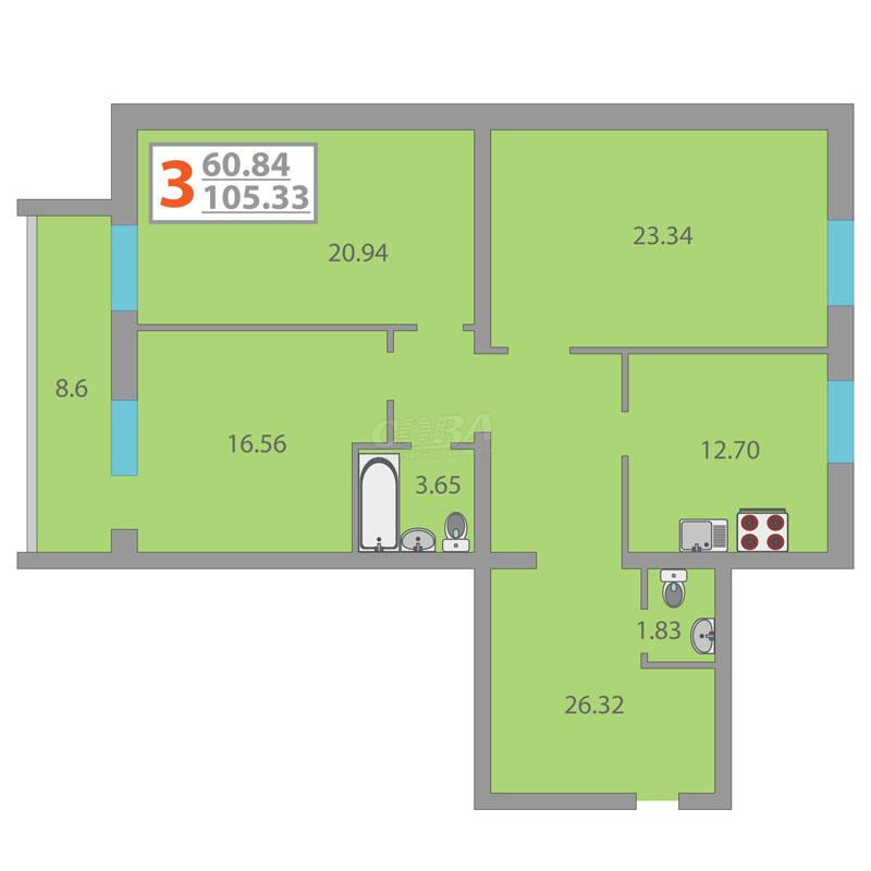 3 комнатная квартира  в районе Плеханово, ул. Кремлевская, 114, ЖК «Первый Плехановский», г. Тюмень