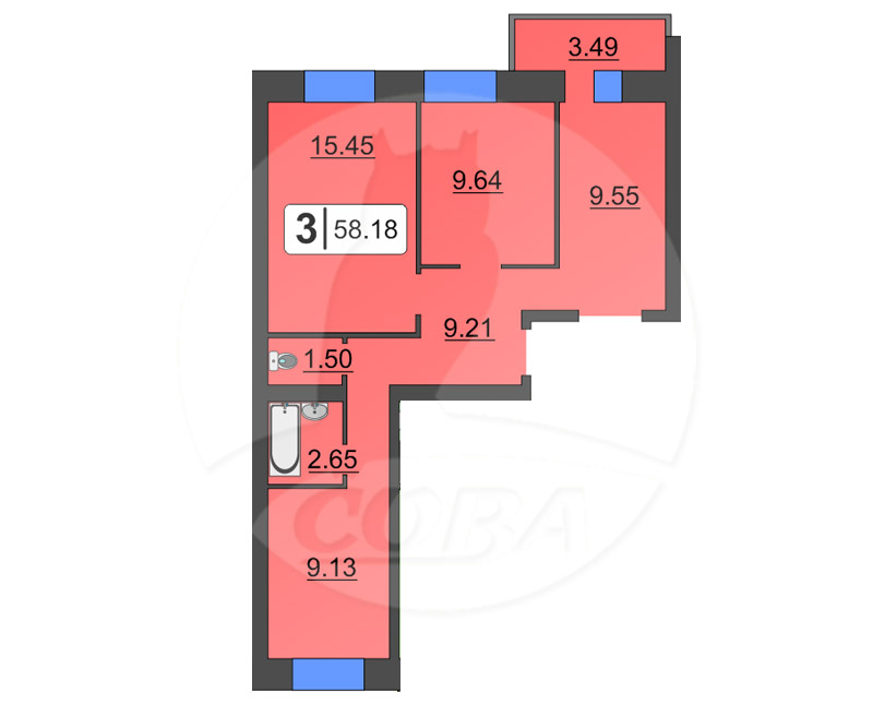 3 комнатная квартира  в районе ММС, ул. Голышева, 4, Жилой дом «Fresh», г. Тюмень