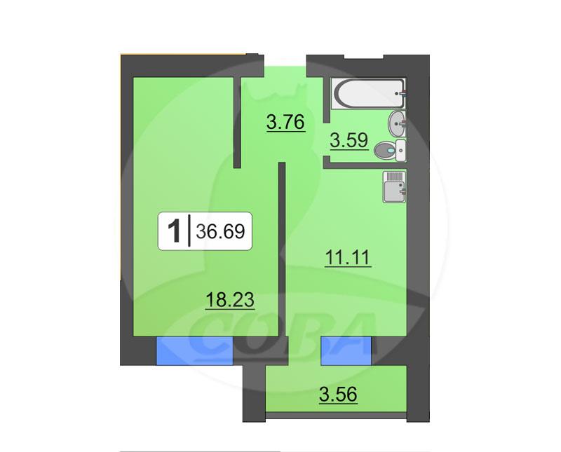 1 комнатная квартира  в районе ММС, ул. Голышева, 10А, Жилой комплекс «Пионер», г. Тюмень