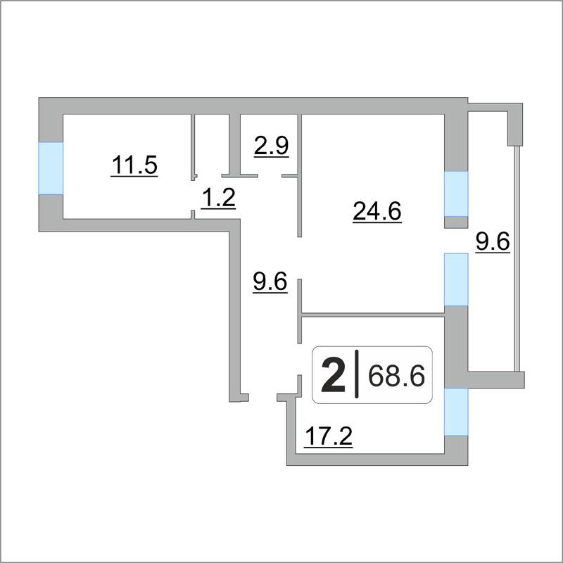 2 комнатная квартира  в Заречном 2 мкрн., ул. Солнечный проезд, 8/2, г. Тюмень