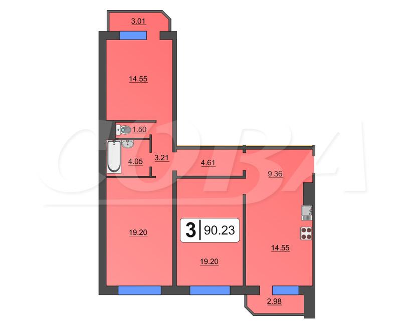 3 комнатная квартира  в районе Суходолье, ул. Широтная, 170/4, Жилой комплекс «Юбилейный», г. Тюмень