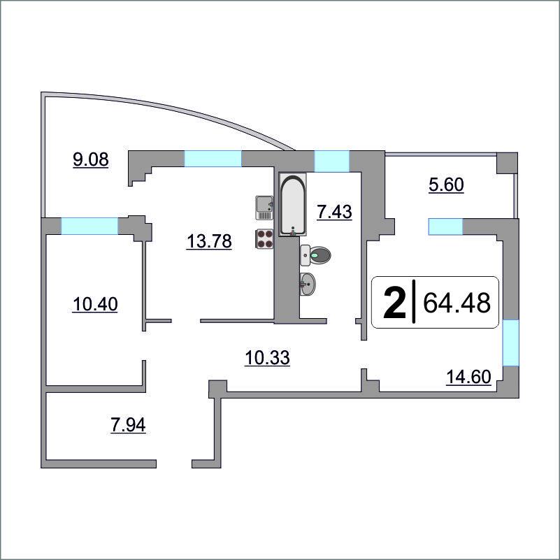 2 комнатная квартира  в районе Ожогина / Патрушева, ул. Федюнинского, 64/2, ЖК «Три Богатыря», г. Тюмень