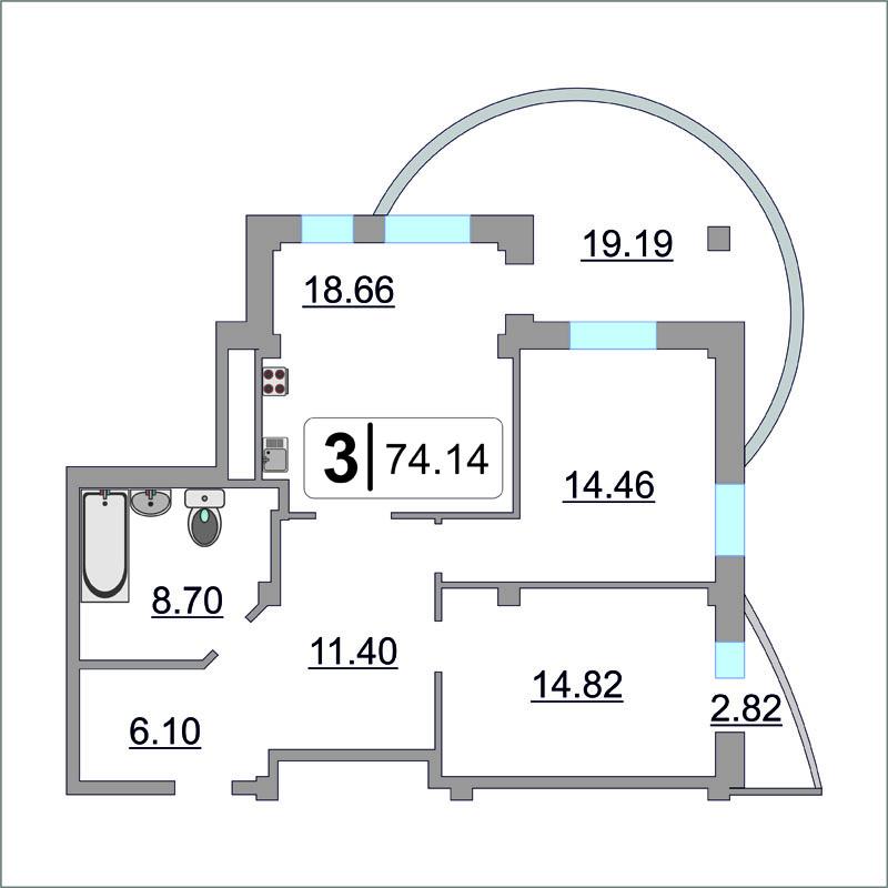 3 комнатная квартира  в районе Ожогина / Патрушева, ул. Федюнинского, 64/1, ЖК «Три Богатыря», г. Тюмень