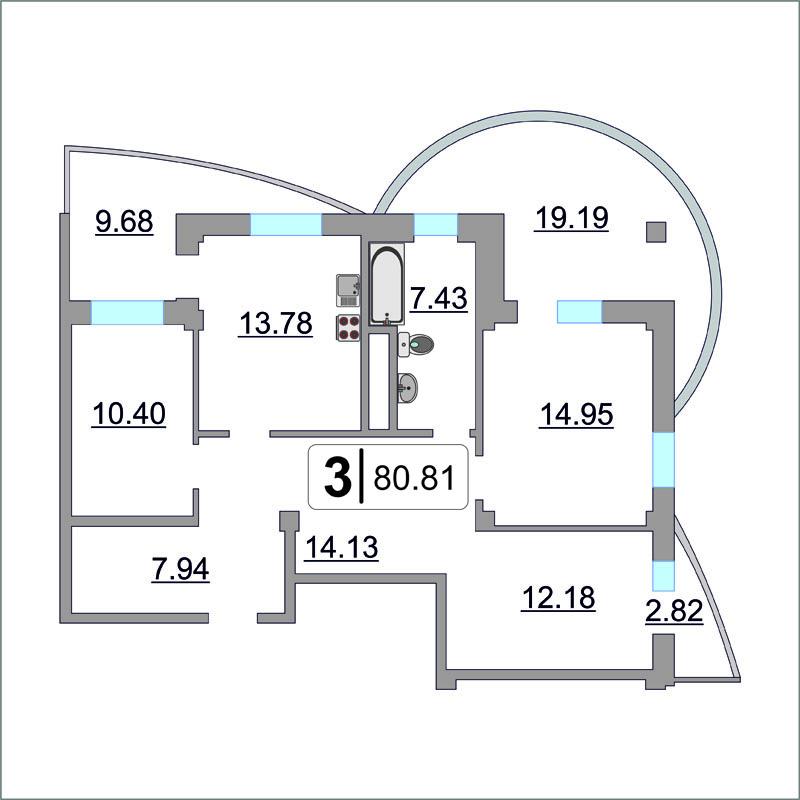 3 комнатная квартира  в районе Ожогина / Патрушева, ул. Федюнинского, 64/2, ЖК «Три Богатыря», г. Тюмень