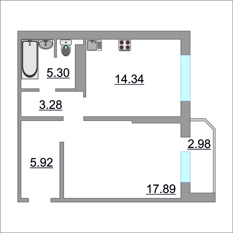 1 комнатная квартира  в районе Ожогина / Патрушева, ул. Федюнинского, 60/2, ЖК