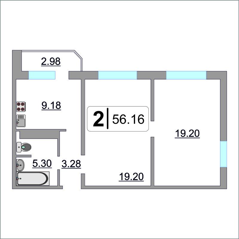 2 комнатная квартира  в районе Ожогина / Патрушева, ул. Павла Шарова, 7, ЖК