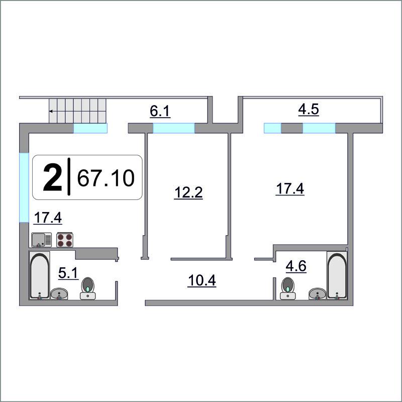 2 комнатная квартира  в районе Метелево, ул. проезд Воронинские горки, 99Б, ЖК «Горки», г. Тюмень