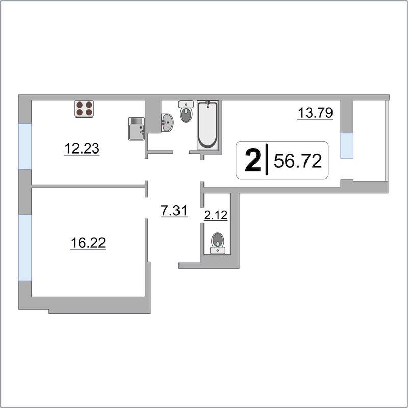 2 комнатная квартира  в районе Тюменская слобода, ул. Фармана Салманова, 12, ЖК «Интеллект-Квартал», г. Тюмень