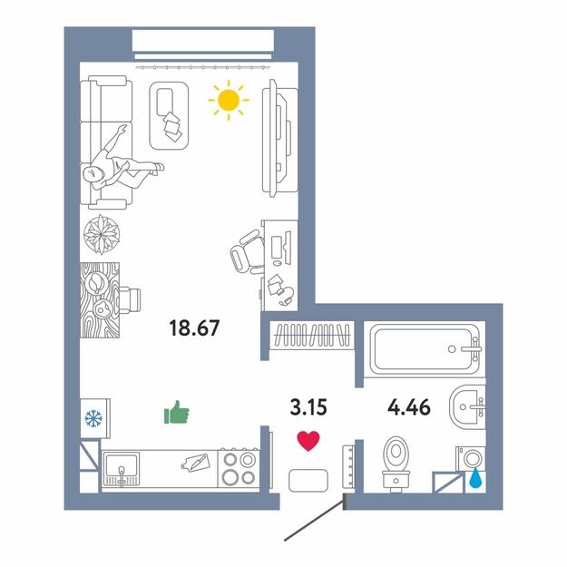 Студия в новом доме,  в Европейском мкрн., Жилой комплекс «Европейский берег», г. Тюмень
