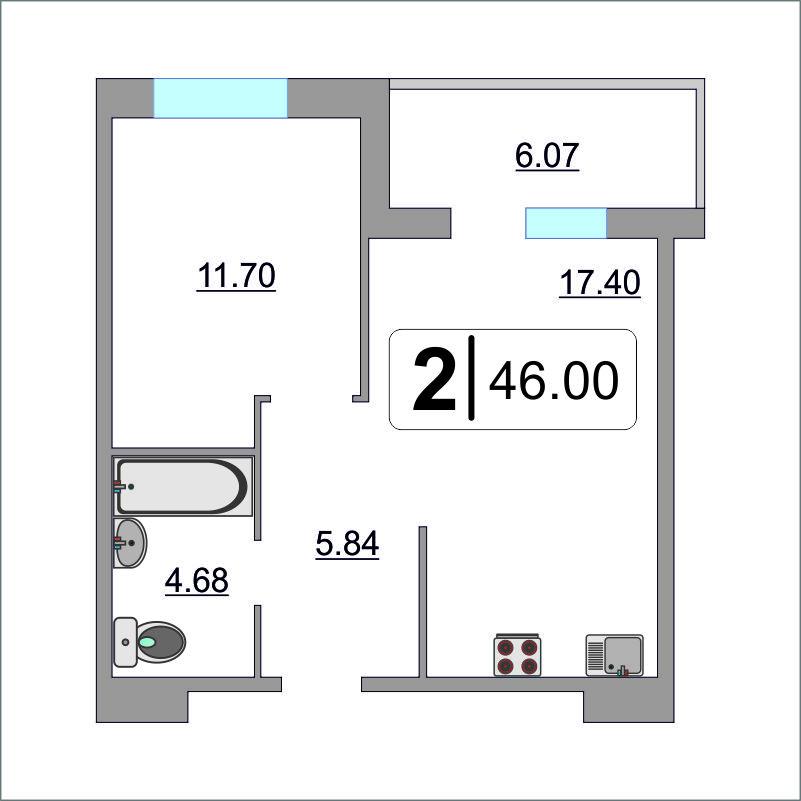 1 комнатная квартира  в Европейском мкрн., ул. Газовиков, 73, Жилой комплекс «Европейский берег», г. Тюмень