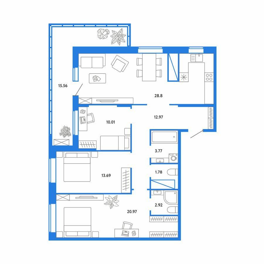 3 комнатная квартира  в Европейском мкрн., ул. Газовиков, 73, ЖК «Европейский берег», г. Тюмень