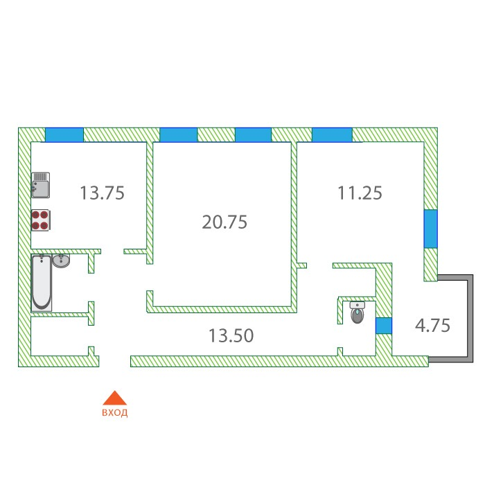 2 комнатная квартира  от застройщика,  в районе Подгорный Тобольск, ул. Кирова, Жилой дом Кирова , Тобольск