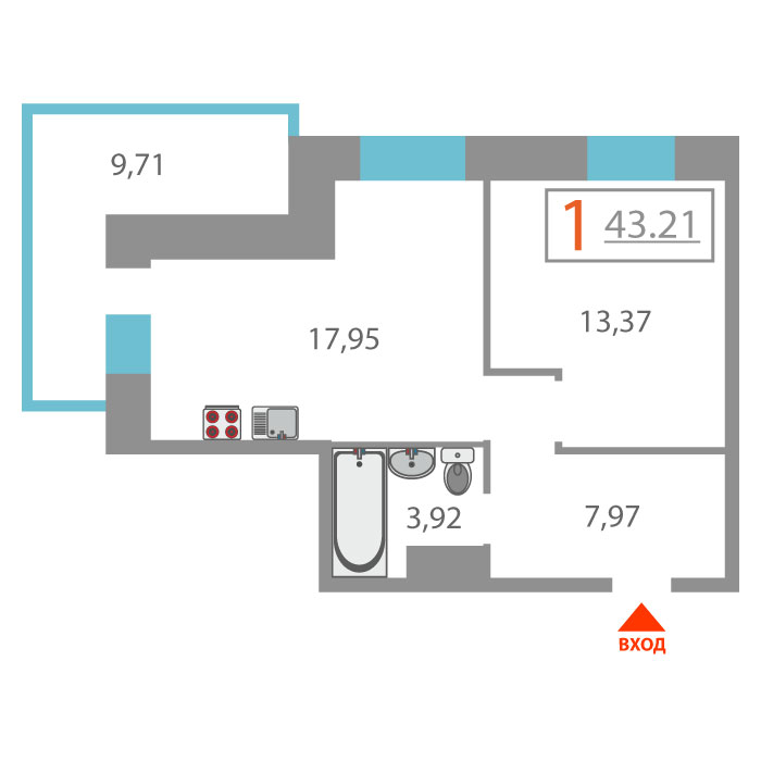 1 комнатная квартира  в районе Войновка, ул. Малая Боровская, 3, Жилой дом «Наследие», г. Тюмень