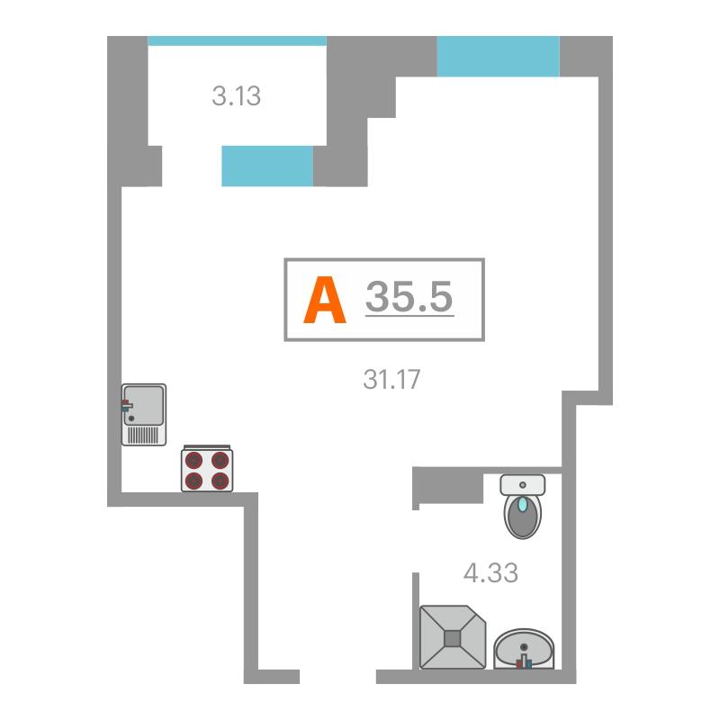 1 комнатная квартира  в районе Дома печати, ул. Сакко, 24, Жилой комплекс «Вивальди», г. Тюмень