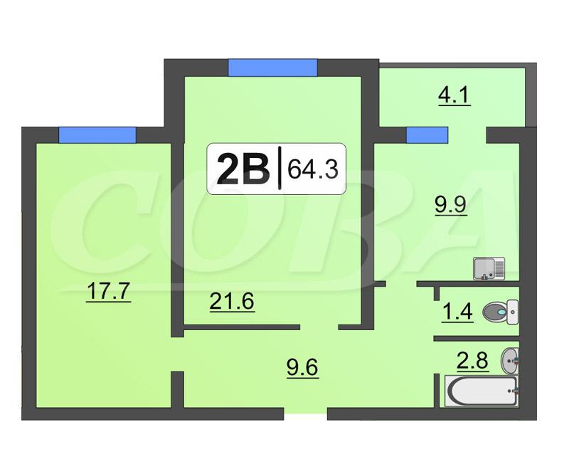 2 комнатная квартира  в районе Ожогина / Патрушева, ул. Федюнинского, 30/2, Жилой комплекс «Ожогино», г. Тюмень