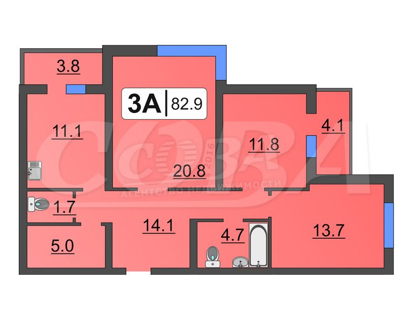 3 комнатная квартира  в районе Ожогина / Патрушева, ул. Федюнинского, 30/1, Жилой комплекс «Ожогино», г. Тюмень