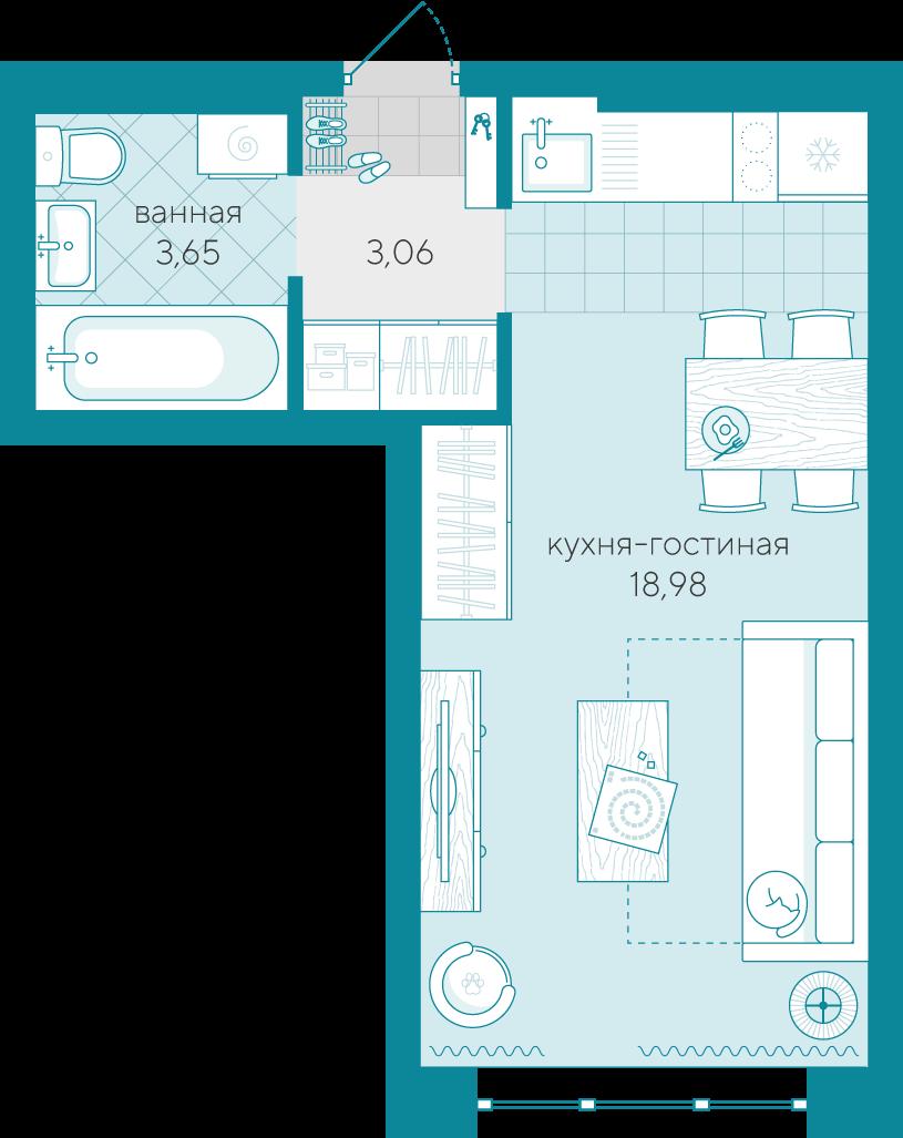 Студия в новом доме,  в районе Док, ЖК «Скандиа - квартал у реки», г. Тюмень