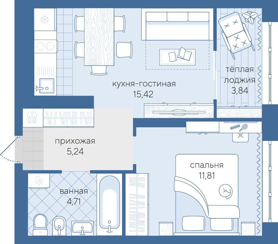 1 комнатная квартира  в районе Дом Обороны (Док), ул. Краснооктябрьская, 14, ЖК «Скандиа - квартал у реки», г. Тюмень