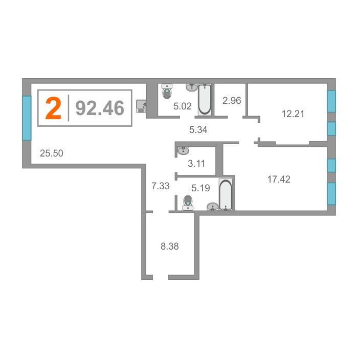 2 комнатная квартира  от застройщика,  в районе Док, ул. Краснооктябрьская, Жилой комплекс «Скандиа» - квартал у реки, Тюмень