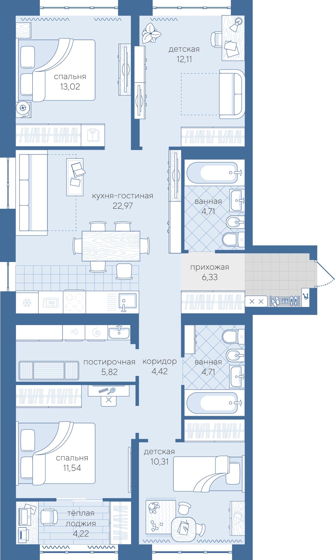 4 комнатная квартира  в районе Дом Обороны (Док), ул. Краснооктябрьская, 14, ЖК «Скандиа - квартал у реки», г. Тюмень