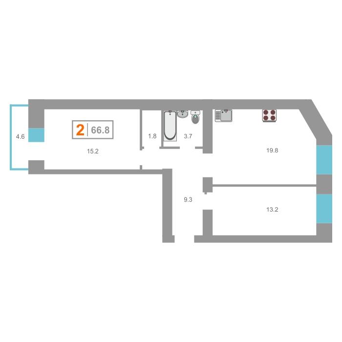 2 комнатная квартира  в новом доме,  в Южном микрорайоне, ЖК «На Мельникайте», г. Тюмень