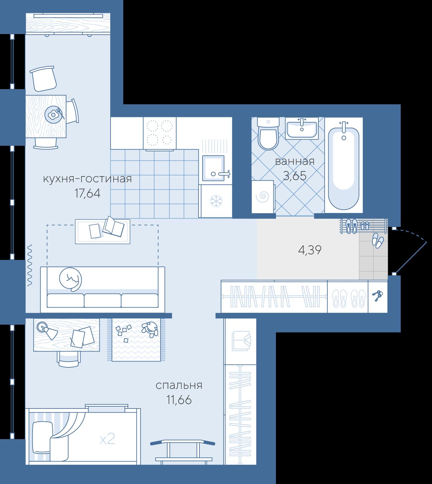 1 комнатная квартира  в районе Лесобаза, ул. Не присвоена, 246, ЖК «Скандиа - квартал у озера», г. Тюмень