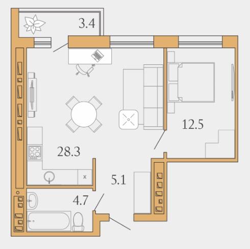 1 комнатная квартира  в районе Взлетный, ул. Ивана Захарова, 7, Квартал