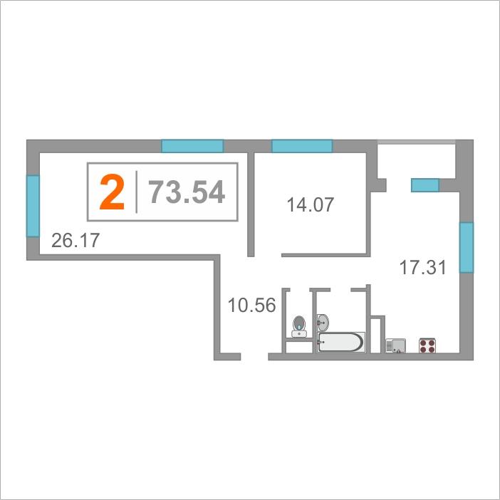 2 комнатная квартира  от застройщика,  в районе Матмасы, ул. Тальниковая, Жилой комплекс «Дебют», Тюмень