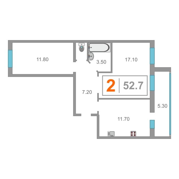 2 комнатная квартира  в новом доме,  в районе Нагорный Тобольск, ЖК