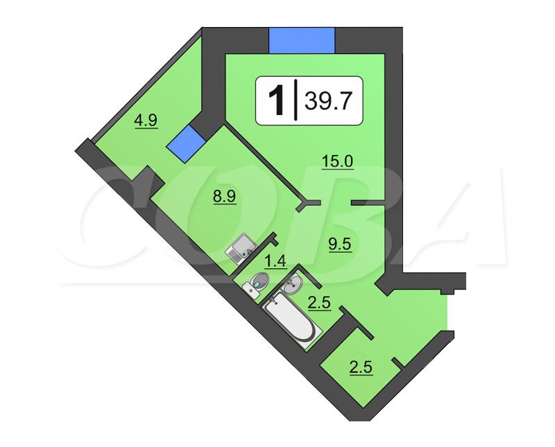 1 комнатная квартира  в районе Суходолье, ул. Линейная, 15, Жилой комплекс «Линейная», г. Тюмень