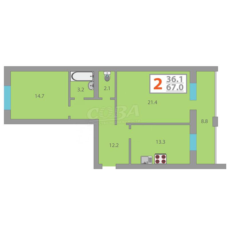 2 комнатная квартира  в районе Суходолье, ул. Линейная, 15, Жилой комплекс «Линейная», г. Тюмень