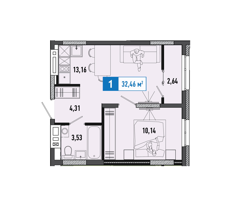 1 комнатная квартира  от застройщика,  в районе Учхоз, ул. Ямская, Жилой комплекс «Мозаика Парк», Тюмень