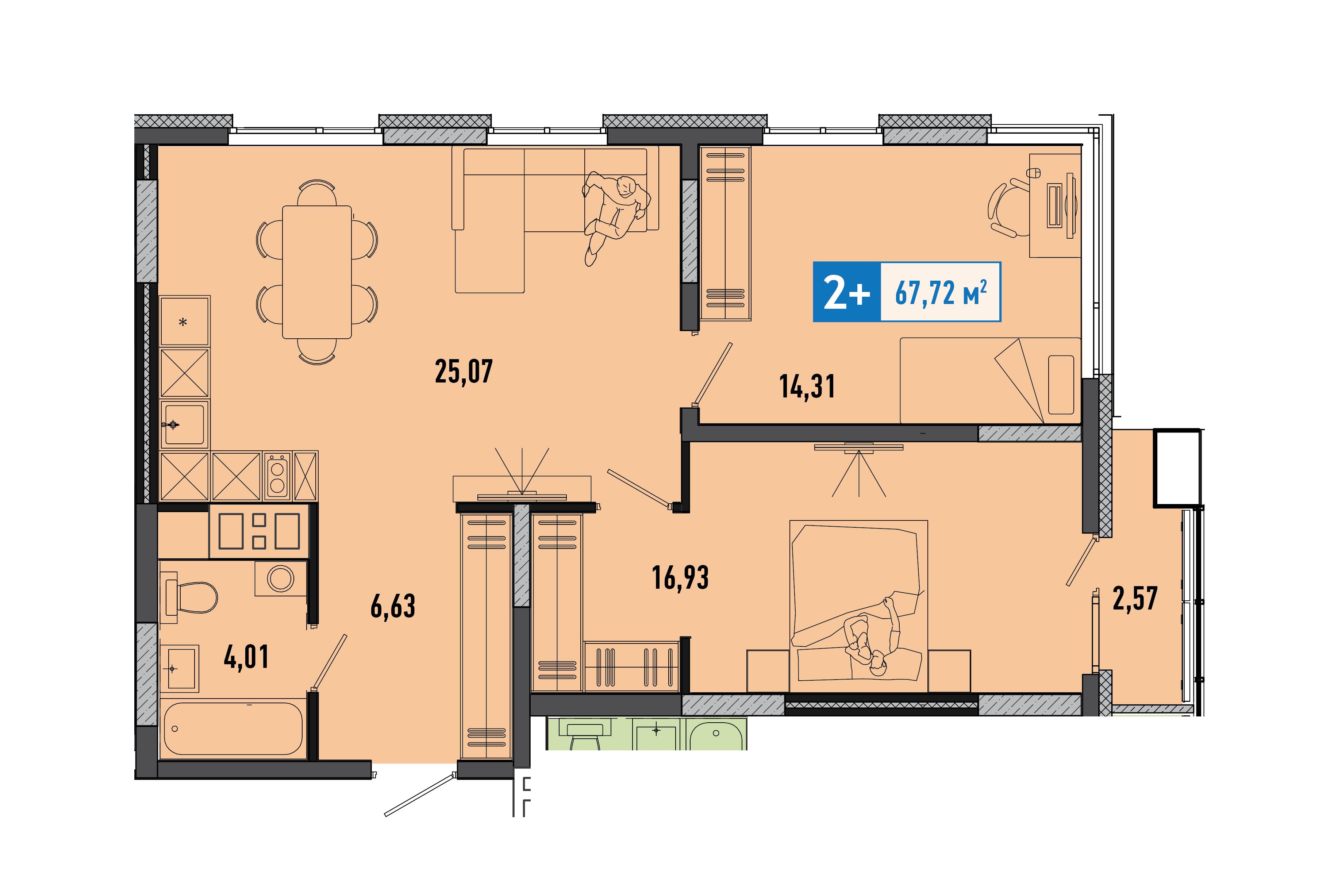 2 комнатная квартира  от застройщика,  в районе Учхоз, ул. Ямская, ЖК «Мозаика Парк», Тюмень
