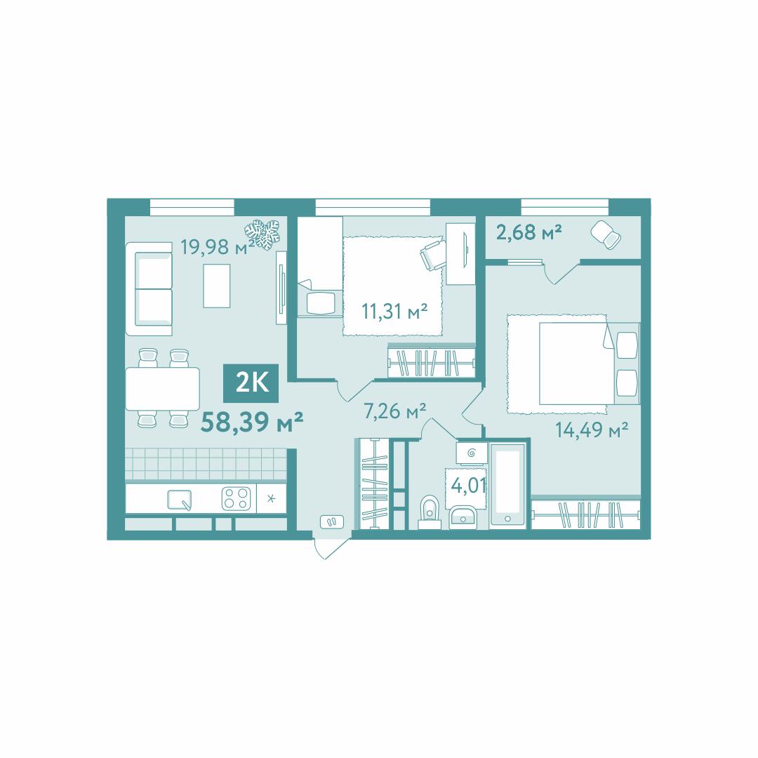2 комнатная квартира  от застройщика,  в районе Лесобаза (Тура), ул. Камчатская, ЖК «Акватория», Тюмень