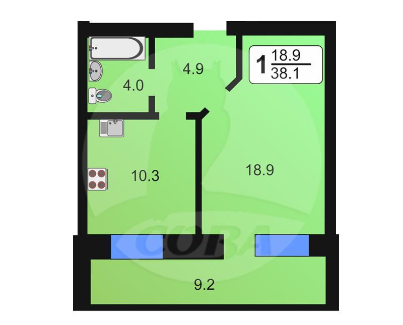 1 комнатная квартира  в районе Нефтяник, ул. Избышева, 6, Жилой квартал «Нефтяник», г. Тюмень