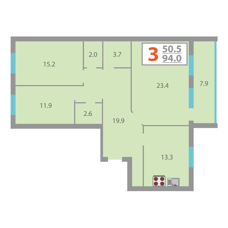 3 комнатная квартира  в районе МЖК, ул. Суходольская, 12, Жилой комплекс «Олимпийская», г. Тюмень