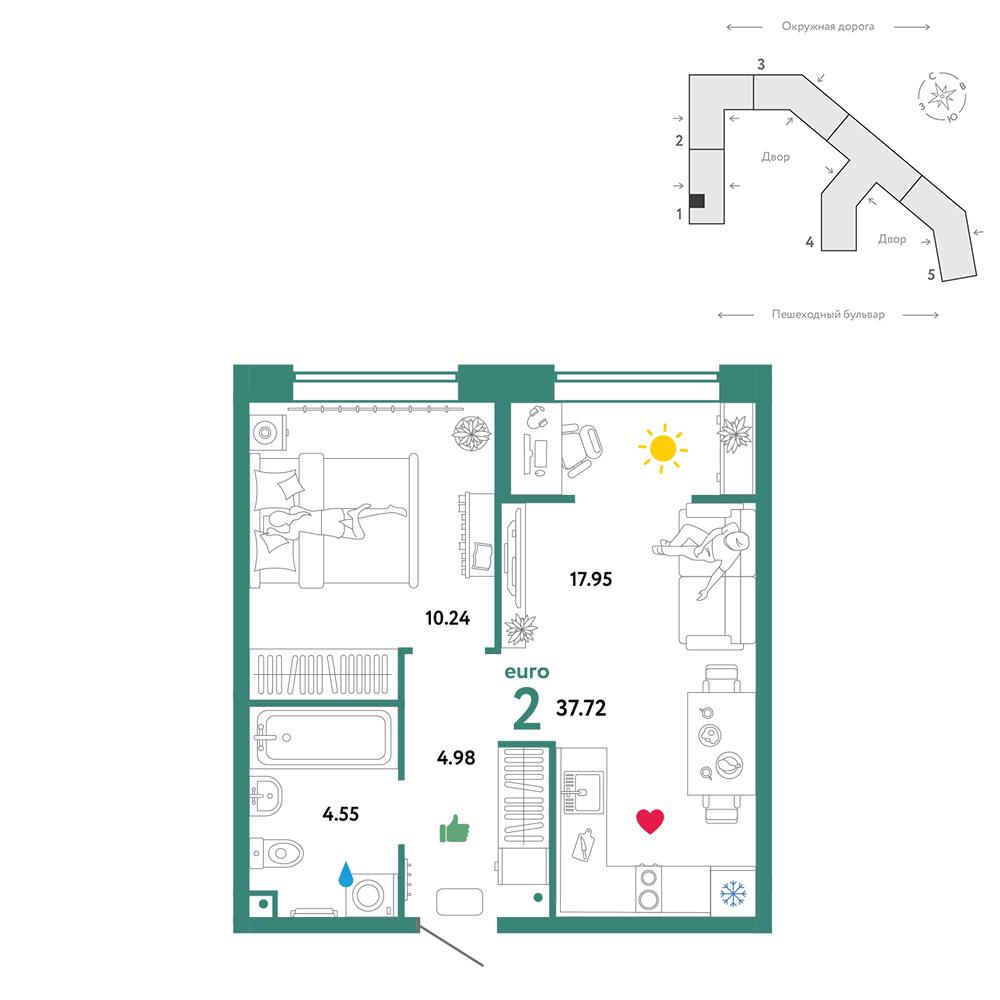 2 комнатная квартира  от застройщика,  в районе Московского тр., ул. Окружная дорога, ЖК «Колумб», Тюмень