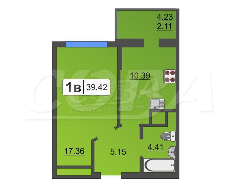 1 комнатная квартира  в районе Дом Обороны, ул. Бакинских Комиссаров, 3, Жилой комплекс «Жуков», г. Тюмень