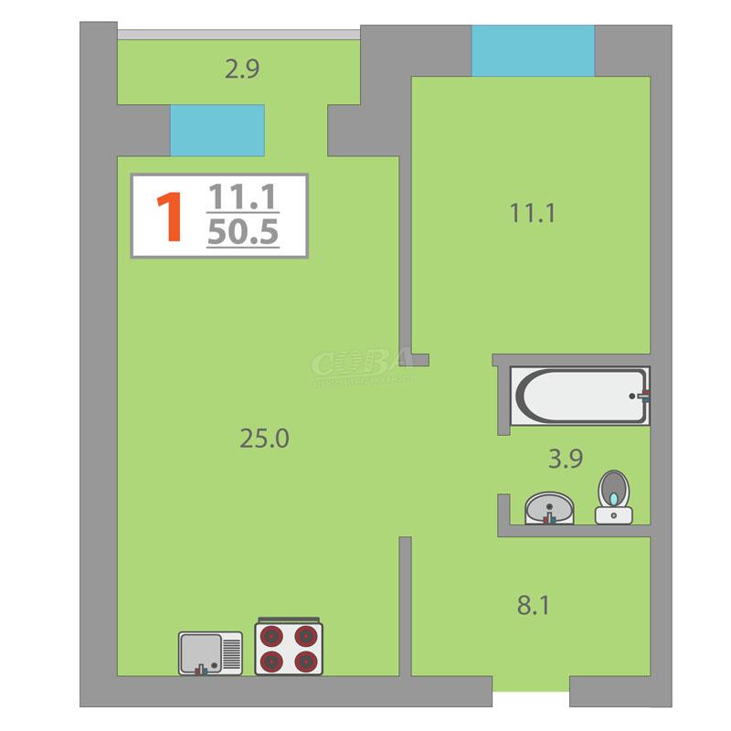 1 комнатная квартира  в районе Дом Обороны, ул. Комбинатская, 54/2, ЖК «Олимпия», г. Тюмень