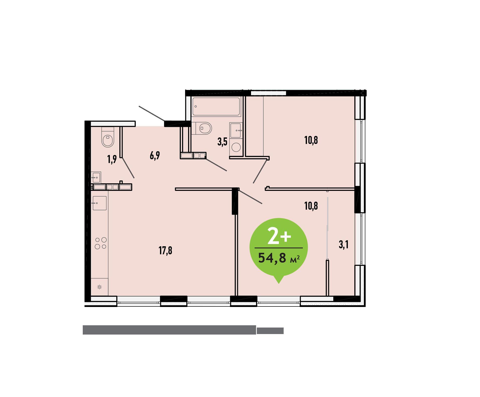 2 комнатная квартира  в новом доме,  в районе ММС, ЖК «Первый ключ», г. Тюмень