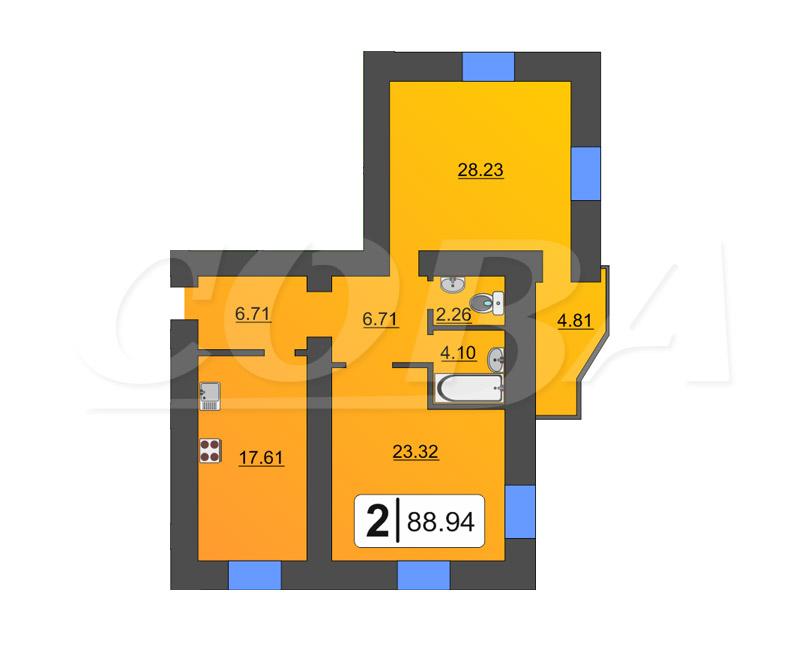 2 комнатная квартира  в районе Дома печати, ул. Циолковского, 20А, Жилой дом