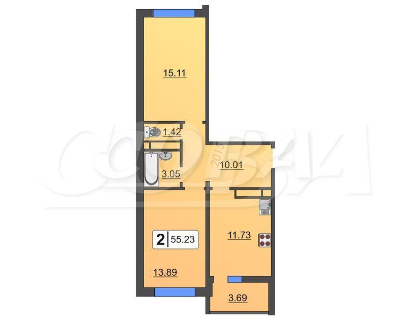 2 комнатная квартира  в районе Тюменская слобода, ул. Василия Подшибякина, 19, Жилой комплекс «Гармония», г. Тюмень