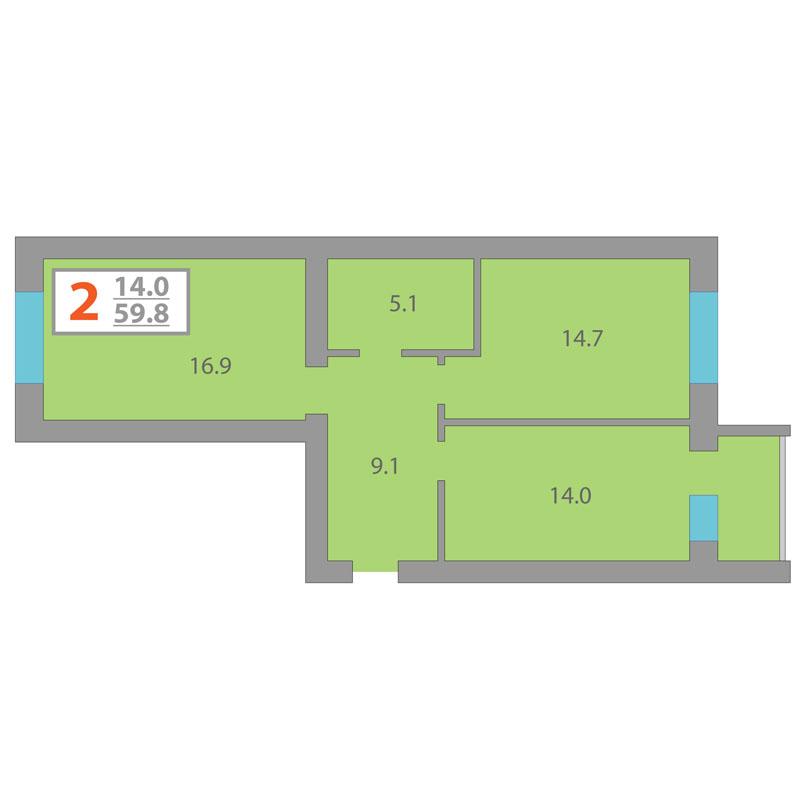 2 комнатная квартира  в районе КПД (Харьковская), ул. Харьковская, 64, Жилой комплекс «Центральный», г. Тюмень