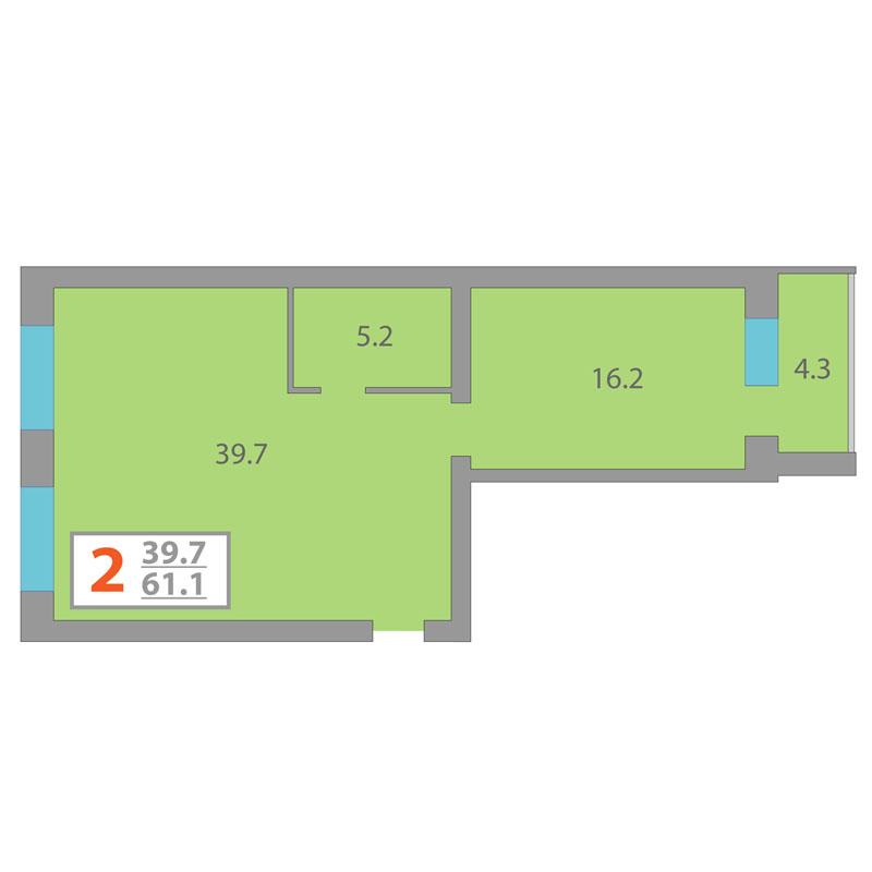 2 комнатная квартира  в районе КПД (Харьковская), ул. Харьковская, 68, Жилой комплекс «Центральный», г. Тюмень