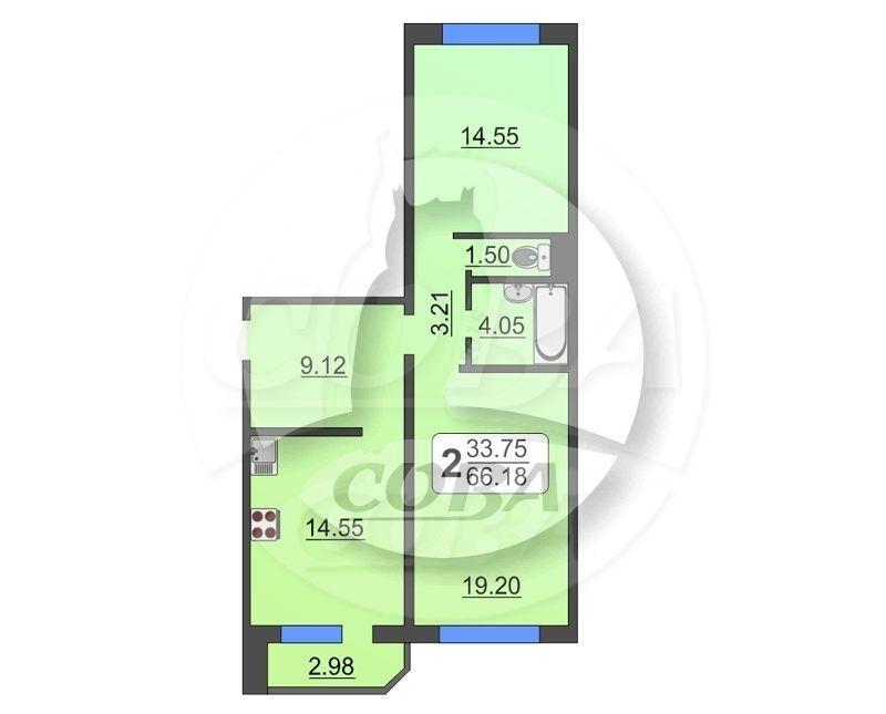 2 комнатная квартира  в районе Суходолье, ул. Широтная, 170, Жилой комплекс «Юбилейный», г. Тюмень